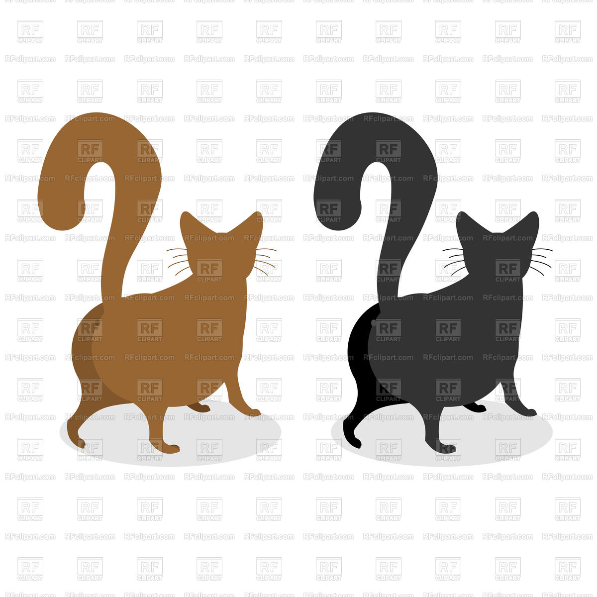 Fluffy black and brown cat back Stock Vector Image.