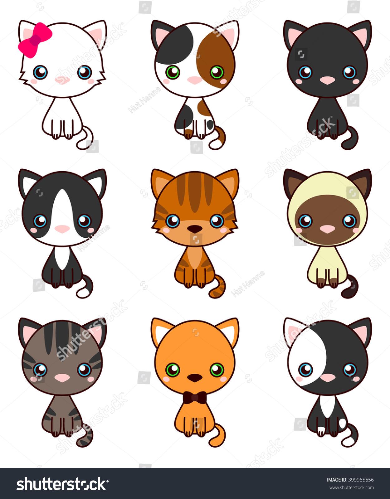 Cat Set Black Cat White Cat Stock Vector (Royalty Free.