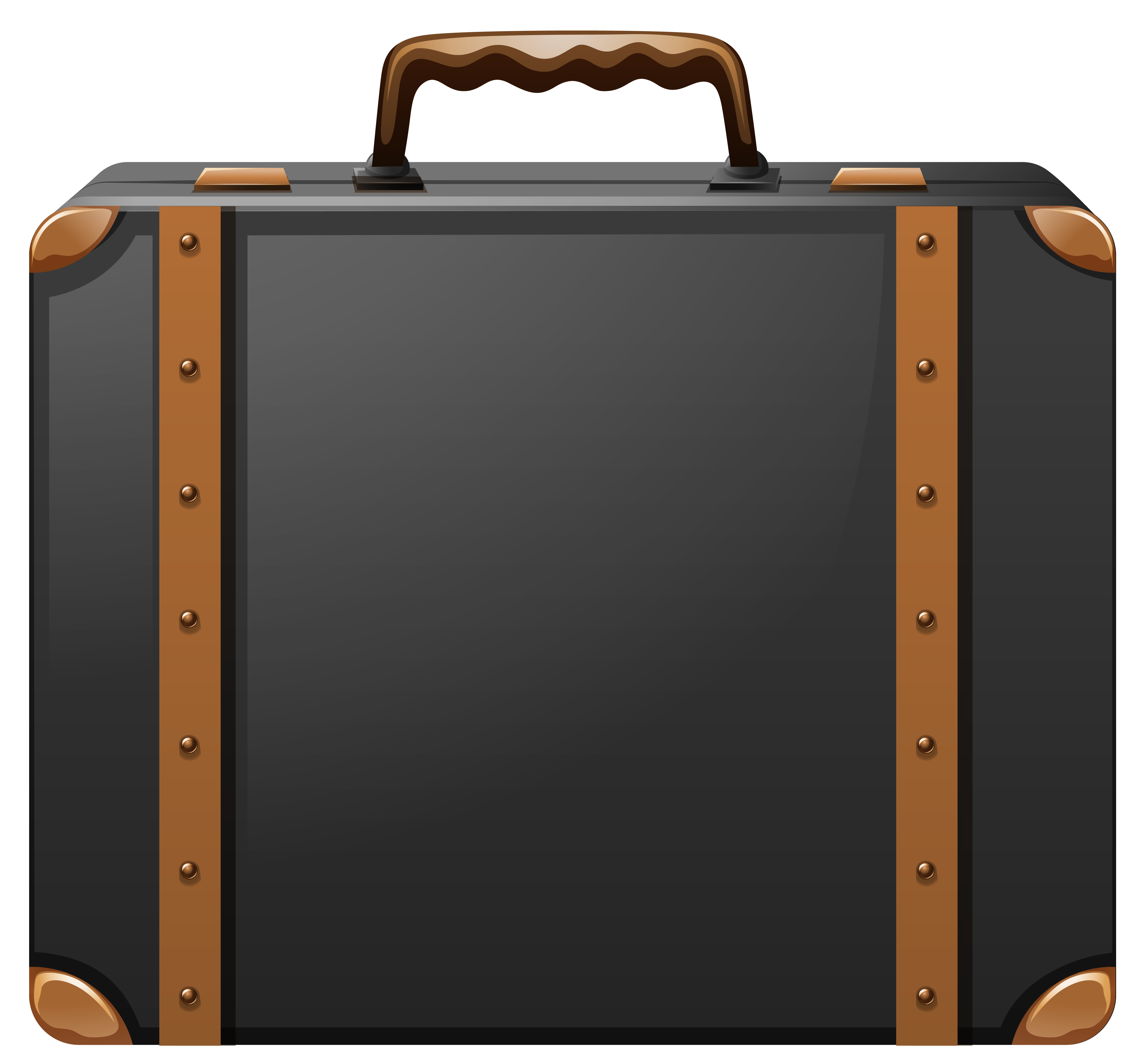 Black and Brown Suitcase PNG Clipart Image.