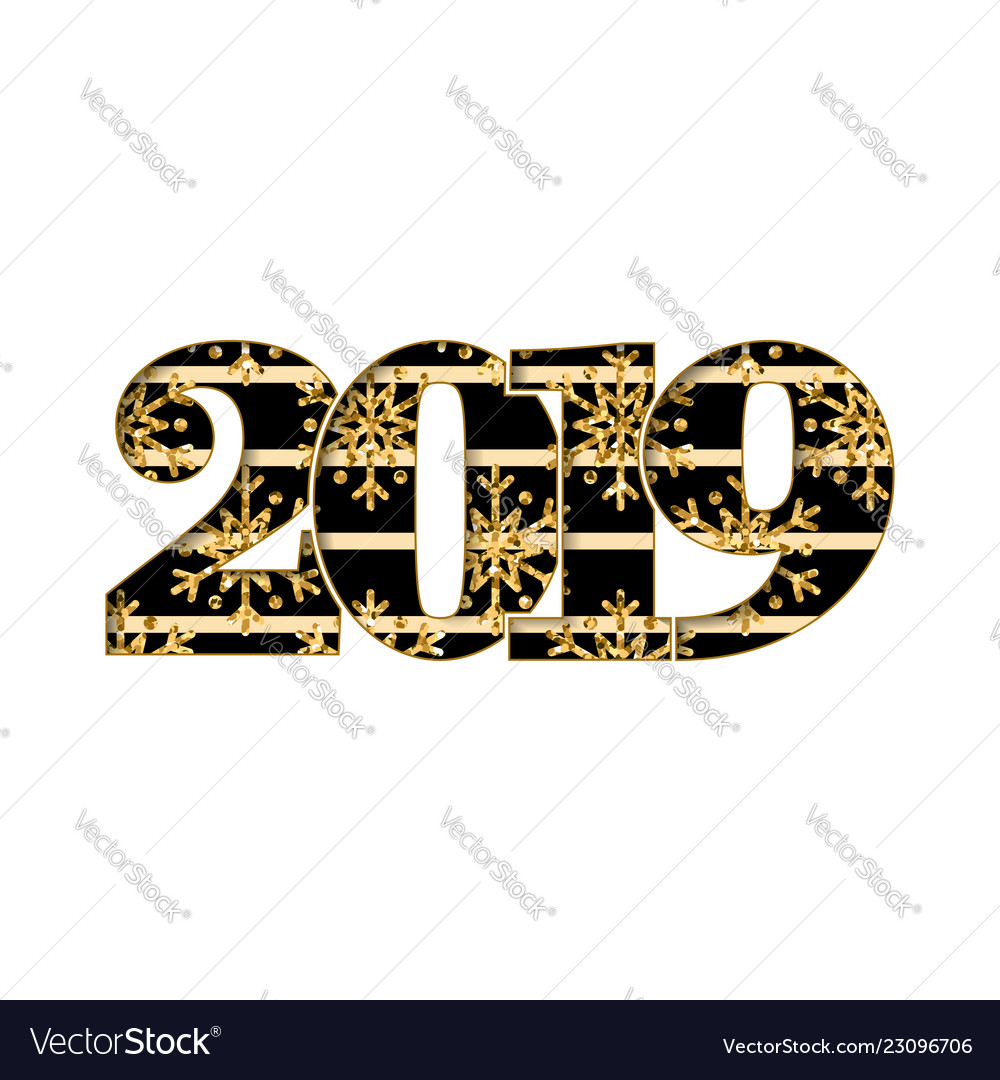 Happy new year card black number 2019 gold.