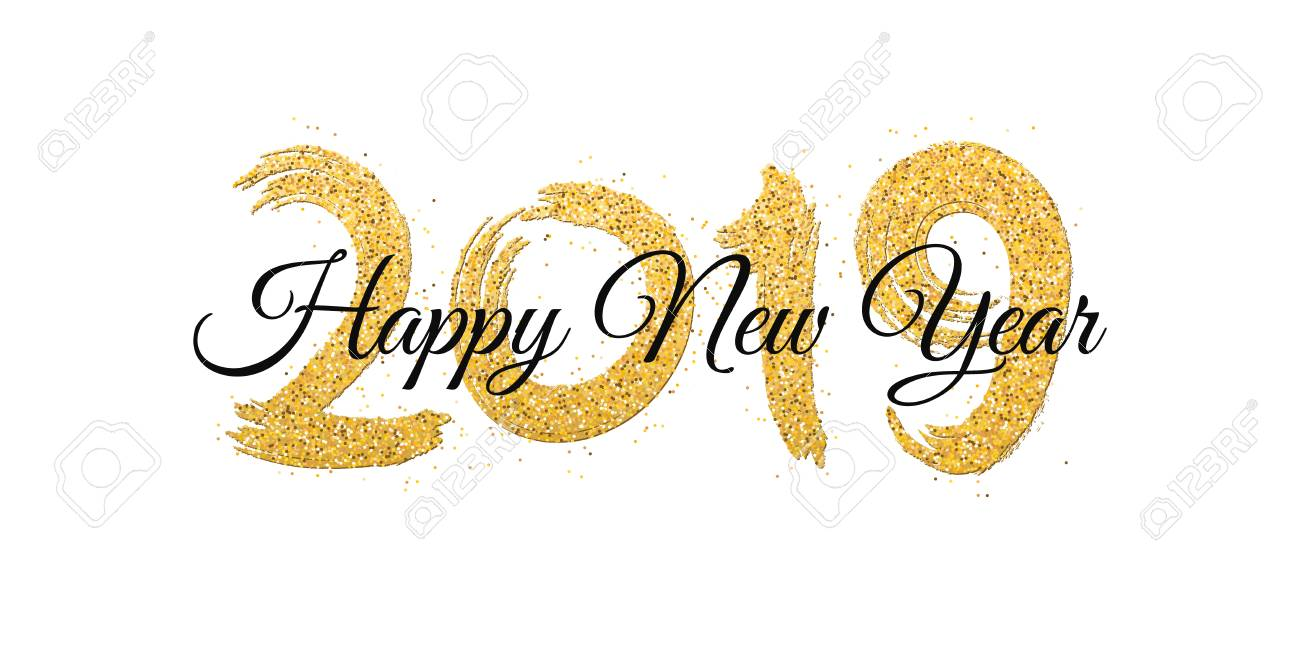 Happy new year 2019. Numbers of golden glitters with black text...