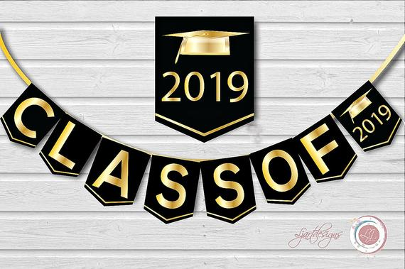 Digital Black and Gold Graduation Banner, Class Of, Graduate, Clipart,  Grad, Graduation Party Decorations,Scrapbook Supplies, Crafts.