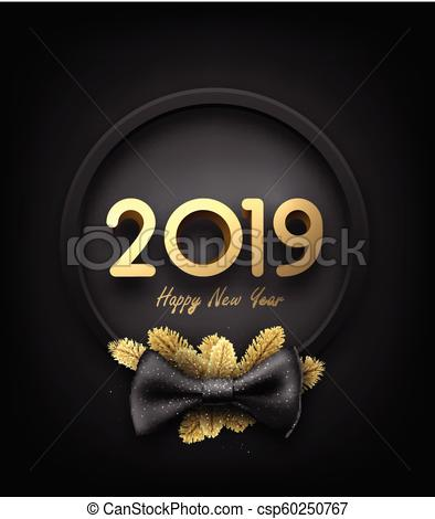 Black and gold 2019 happy New Year background with round frame and bow..