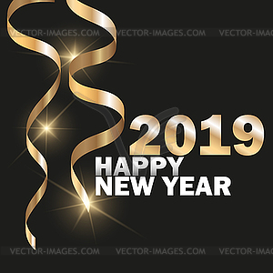 2019 New Year Black background with gold glitter.