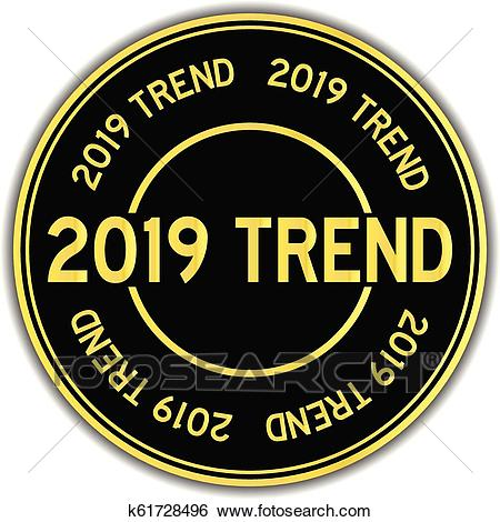 Black and gold color sticker in word 2019 trend on white.