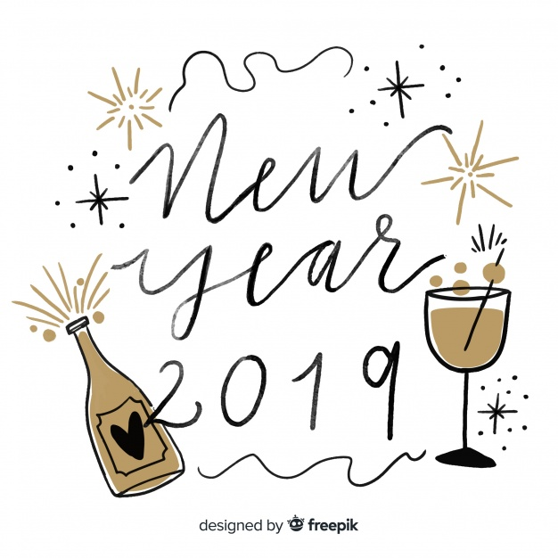 Happy new year 2019 black and gold background with fancy.