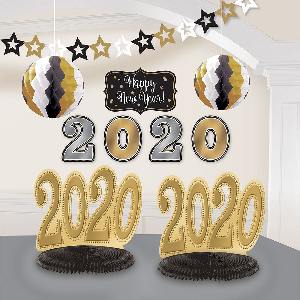 Black, Gold & Silver 2020 New Year\'s Room Decorating Kit 10pc.