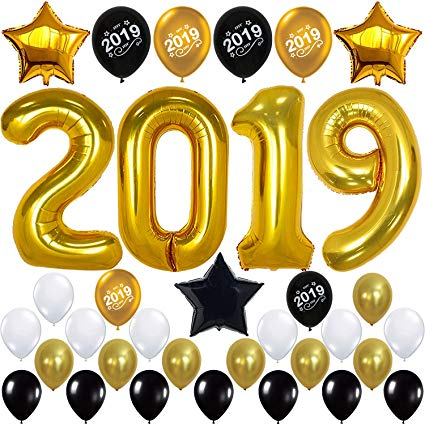 2019 Balloons, Gold for New.