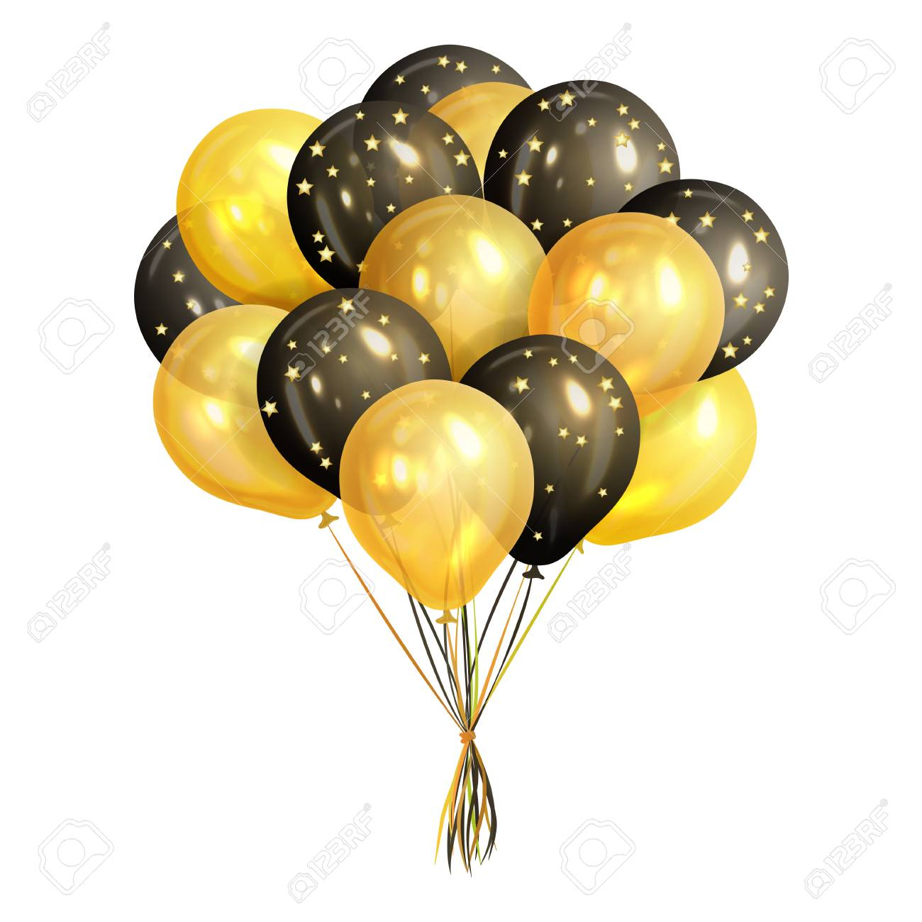 Bunch of realistic black and gold helium balloons isolated on...