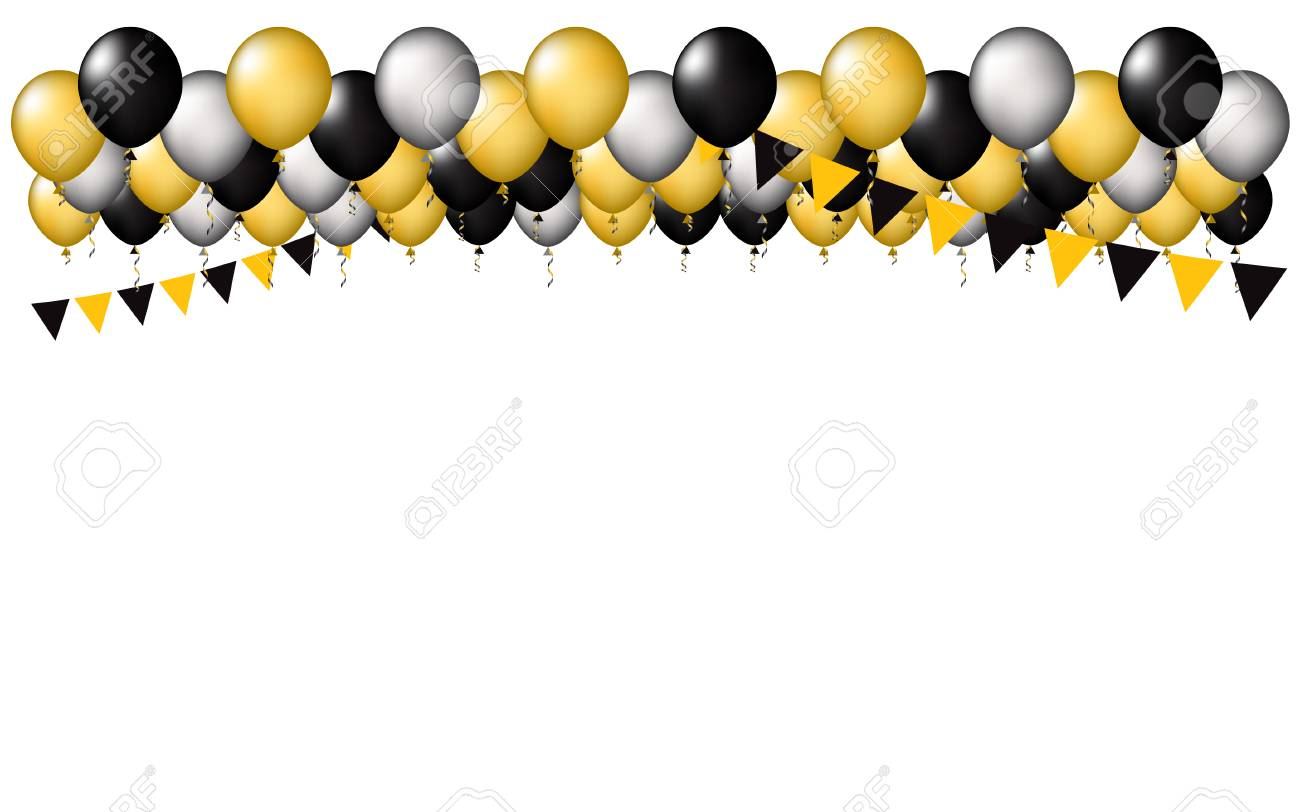 Party vector balloons background. Colors gold, black,and silver...