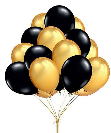 Black And Gold Balloons Clipart.