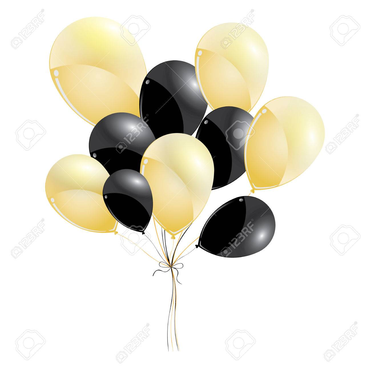 Gold and black balloons isolated on black background. Black and...