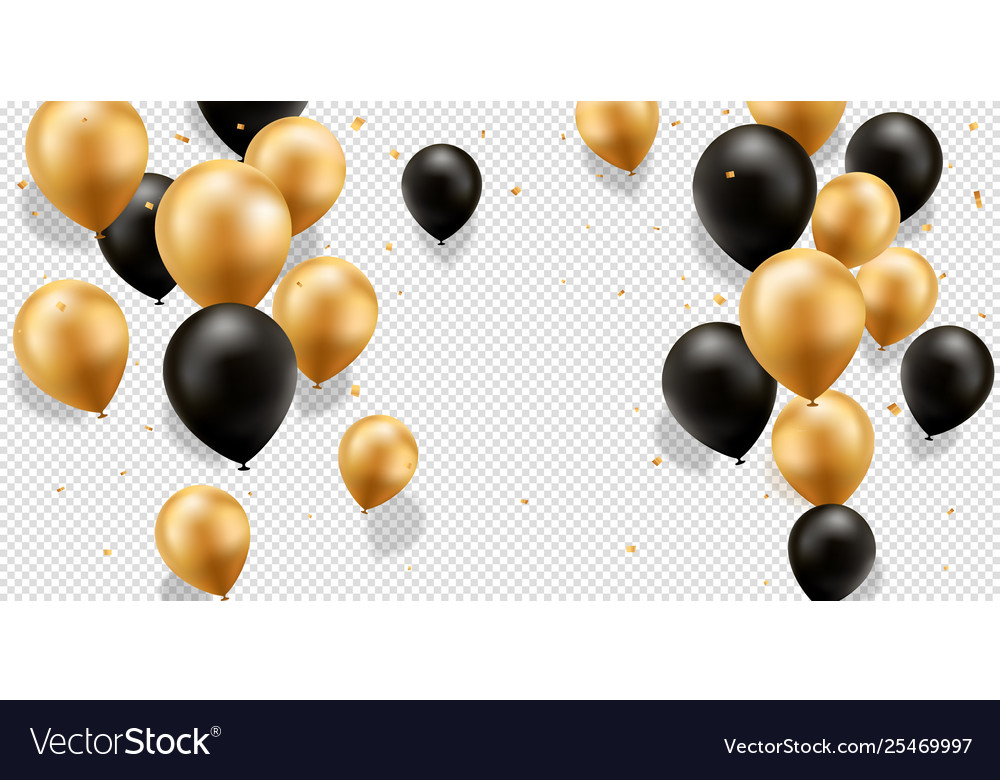 Gold and black balloons.