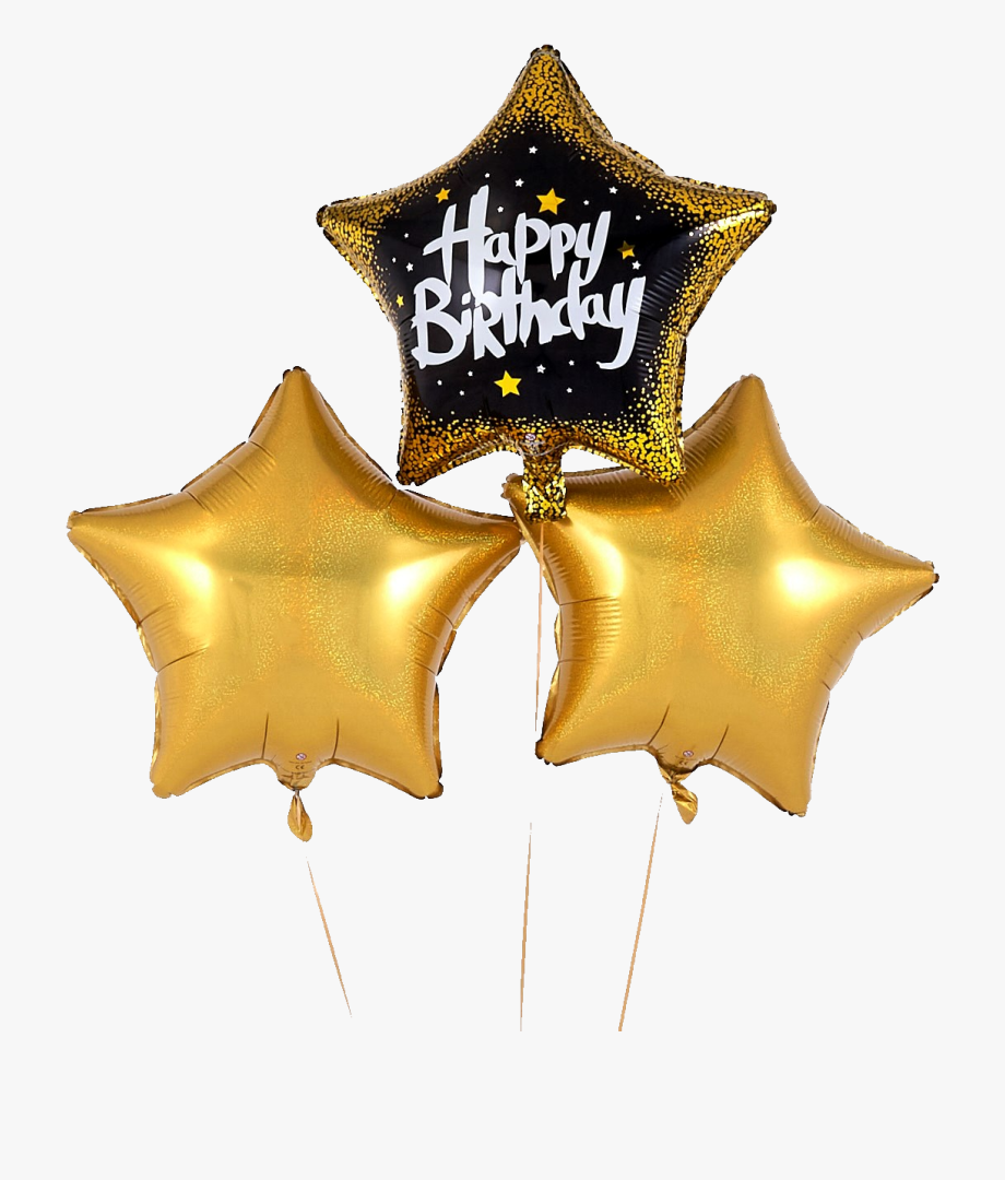 Black And Gold Birthday Balloons , Transparent Cartoon, Free.