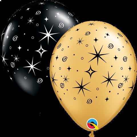 Sparkles & Swirls Black & Gold 11.