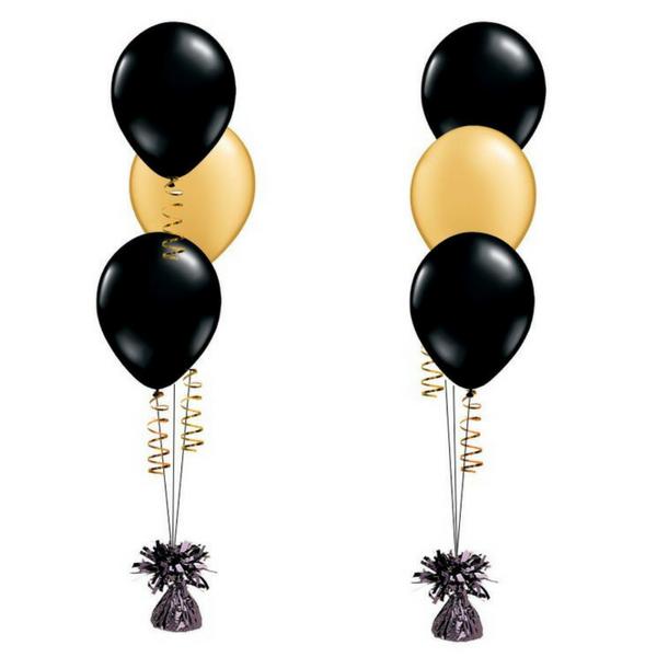 2 x 3pcs Black & Gold Latex Helium Balloon Bouquet.