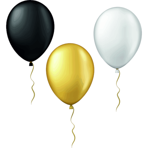 Balloon Window Clings (Black, Silver, Gold).