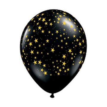 Black with Gold Stars Latex Balloons.