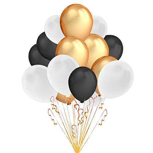 Party Decorations Balloons,100 Pack 12 '' Ultra Thickness Latex Balloons  (Gold and White and Black Color).