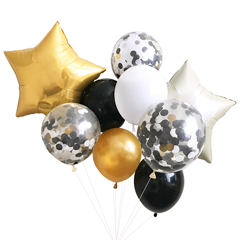 Black and Gold Balloon Bouquet.
