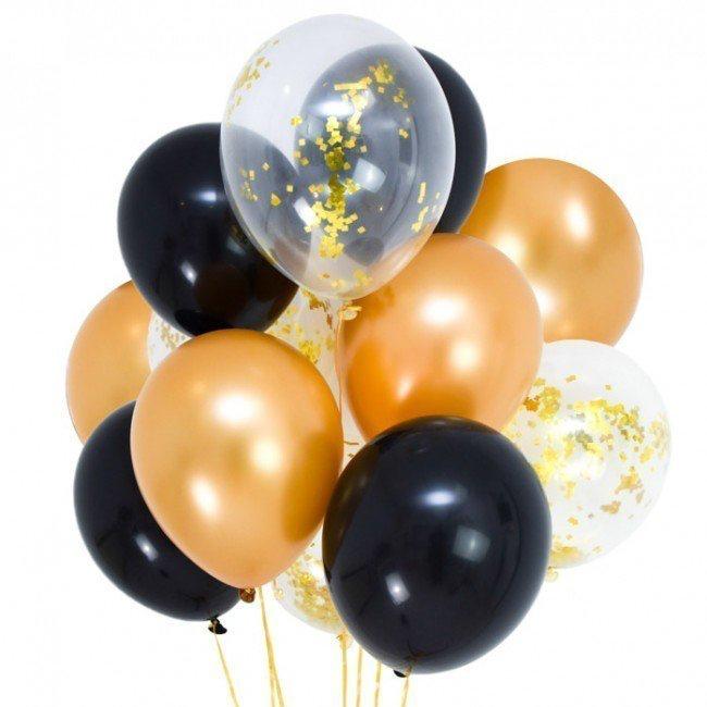 Black & Gold Glamour Latex Balloon Bouquet.