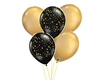 Chic Black & Gold Celebratory Balloon Bouquet.