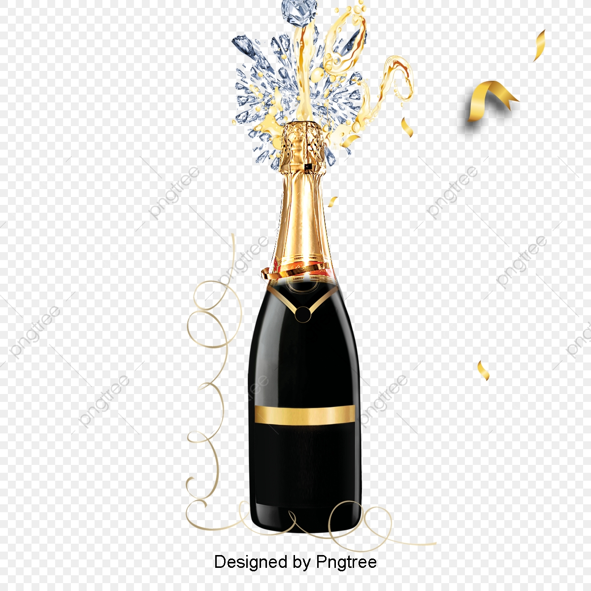 Black Champagne Celebrates Golden Border Elements, Celebrate.