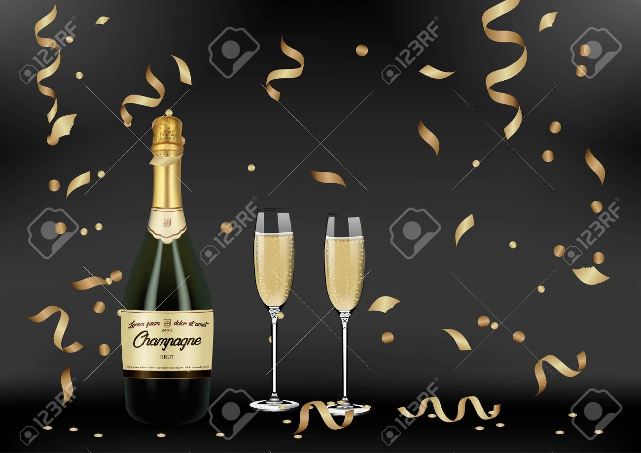 Vector Realistic green with gold label Champagne bottle, glasses...