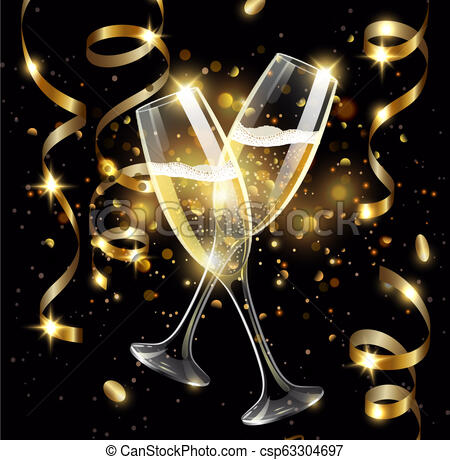 Sparkling glasses of champagne with Gold serpentine on black background,  bokeh effect with sign Happy New Year.