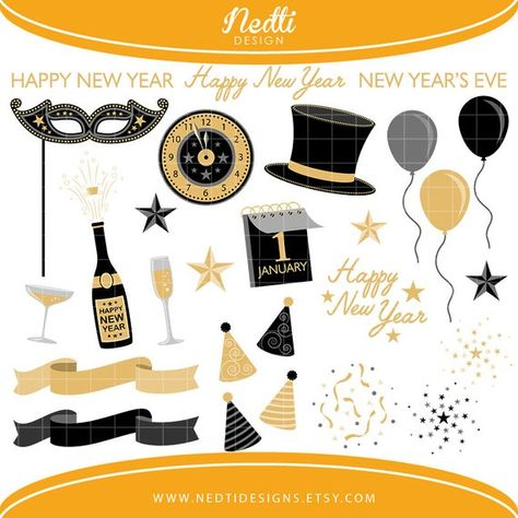 Black Gold New Years Clipart/ December January Holiday.