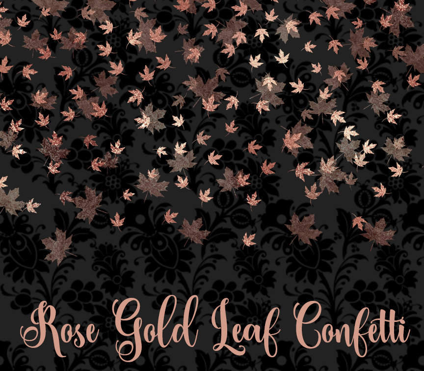 Rose Gold Leaf Confetti Clipart.