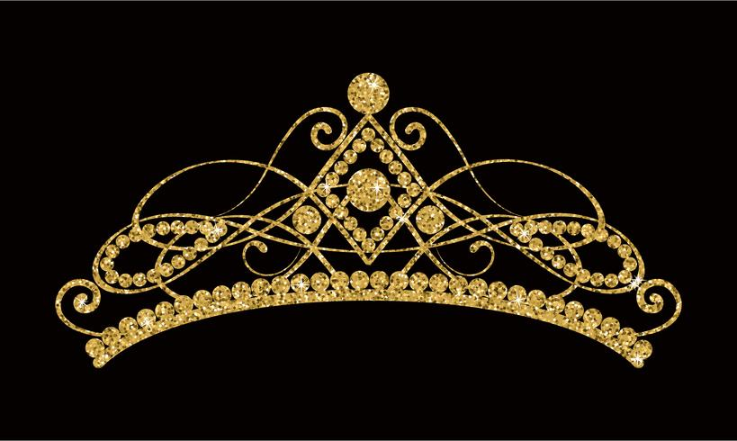 Glittering Diadem. Golden tiara isolated on black background.
