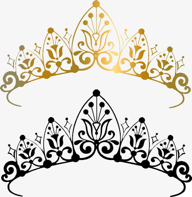 Crown pattern, black and gold crowns illustrations PNG.