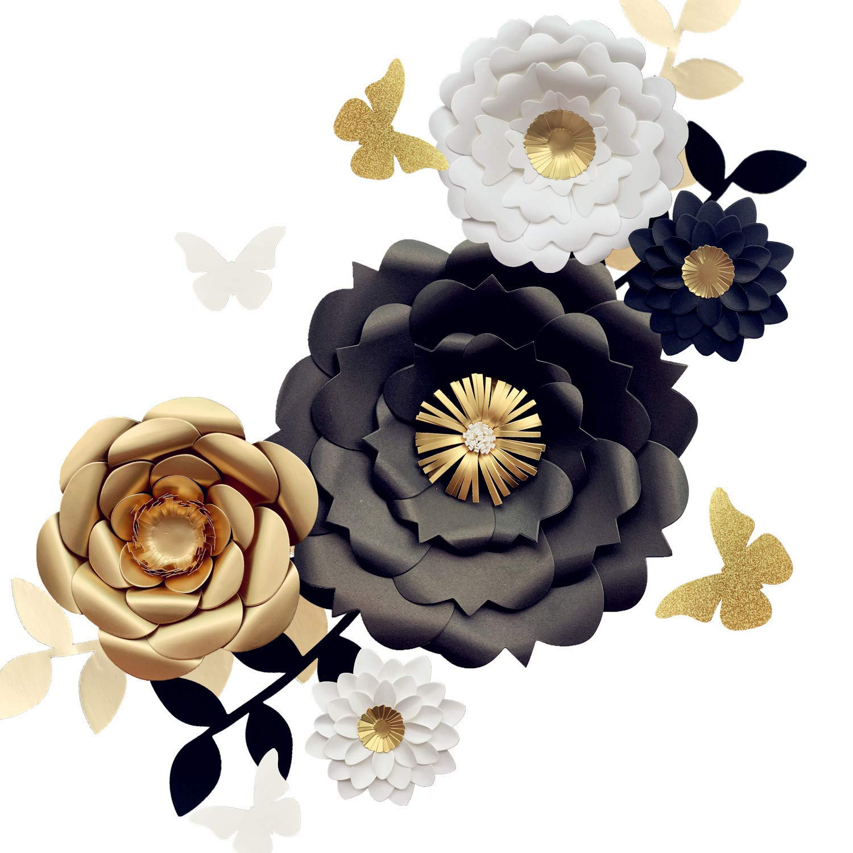Fonder Mols 3D Paper Flower Decorations(Set of 13, White Black Gold), Giant  Paper Flowers for Wedding Backdrop, Graduation Party, Bridal Shower,.