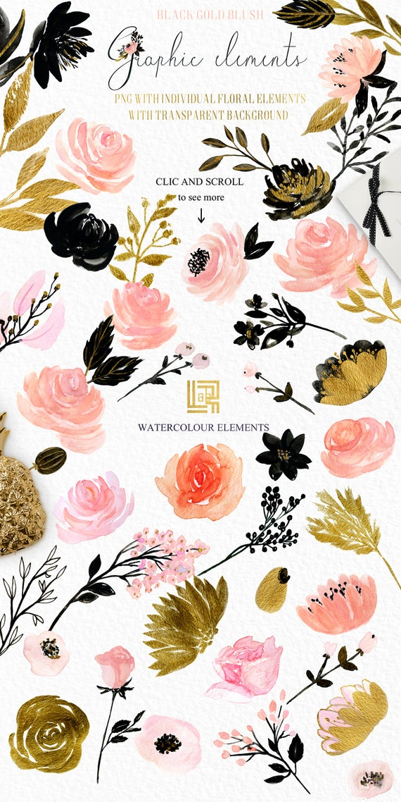 Blush pink, black and gold watercolour flowers clipart, hand drawn:  Elements. Glam and chic blush pink and black and gold colors. Flowers..