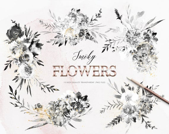 13 Smoky Flowers Clipart, Black Watercolor Flowers, Black and White  Bouquets Clipart, White and Gold Wedding Flowers, Free Commercial Use.