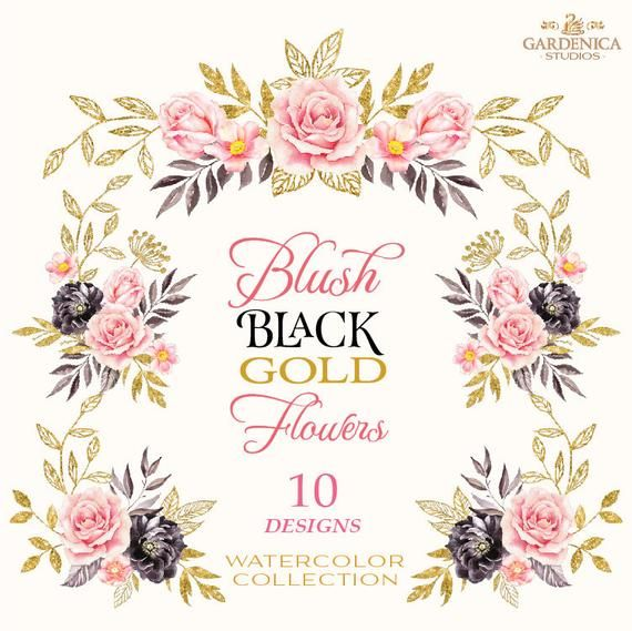 Black and Gold Watercolor Flowers Clipart, Blush Pink, Black.