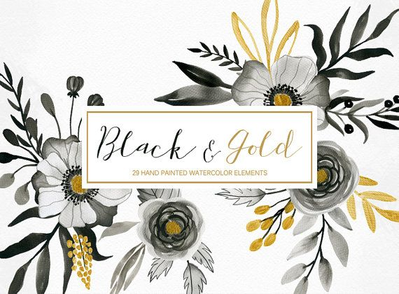 Watercolor floral clipart black and gold hand by.
