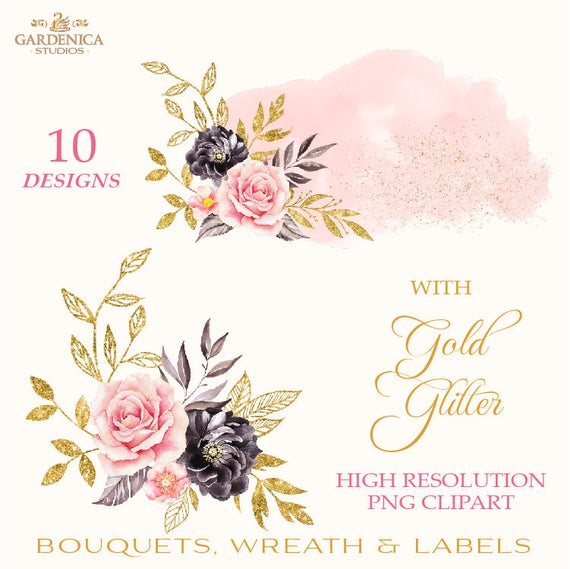 Black and Gold Watercolor Flowers Clipart, Blush Pink, Black Flower  Clipart, Pink and Black, Floral Elements Digital Flowers Png Set Bouquet.