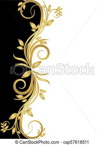 black and white stencil with gold flowers.