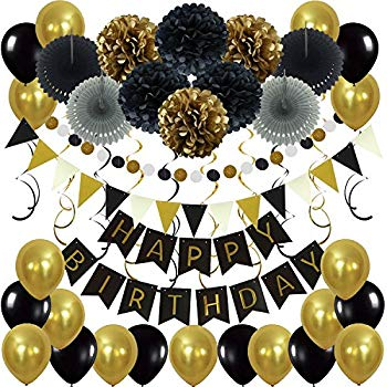 Amazon.com: BLACK and GOLD PARTY DECORATIONS.