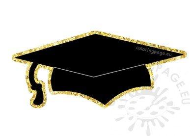 Black Gold Graduation Hat vector clipart.