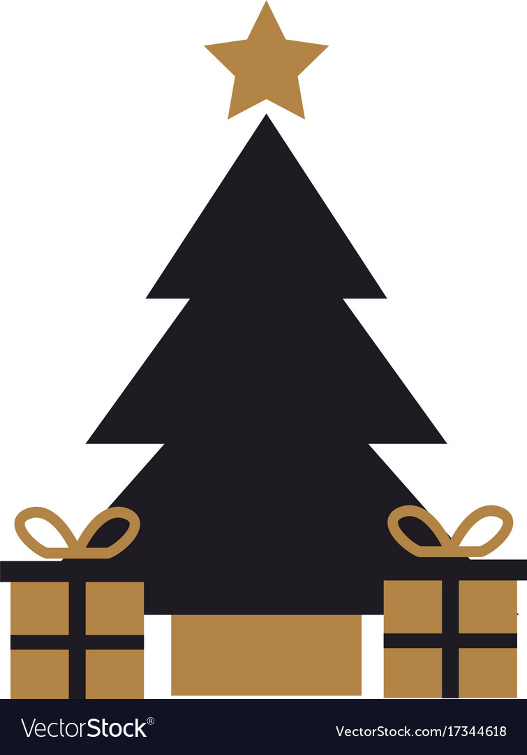 Gold and black tree pine gift boxes star christmas.