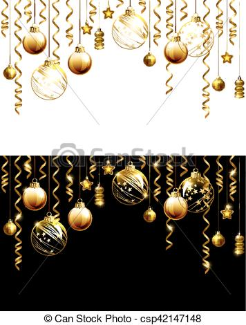 Glass Christmas evening balls on a black and white background. New year  gold decorations with garlands..