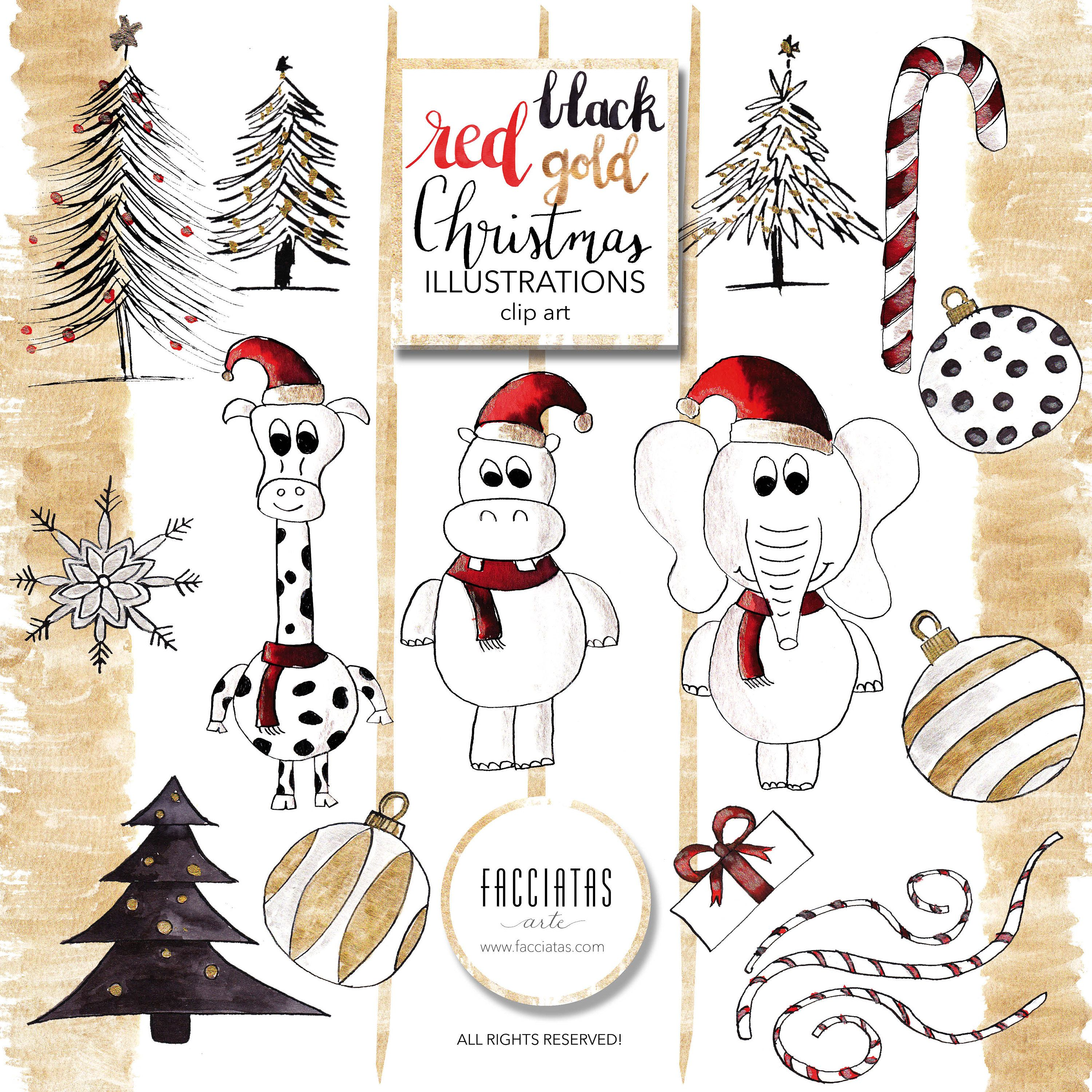 Red, Black, gold Christmas Clipart.