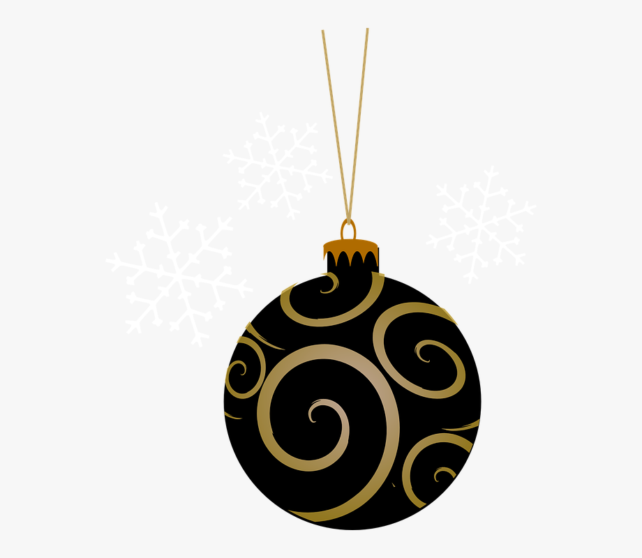 Bauble, Black, Tree, Round, Gold, Christmas, Holiday.