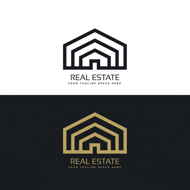 Black and gold house logo Vector.