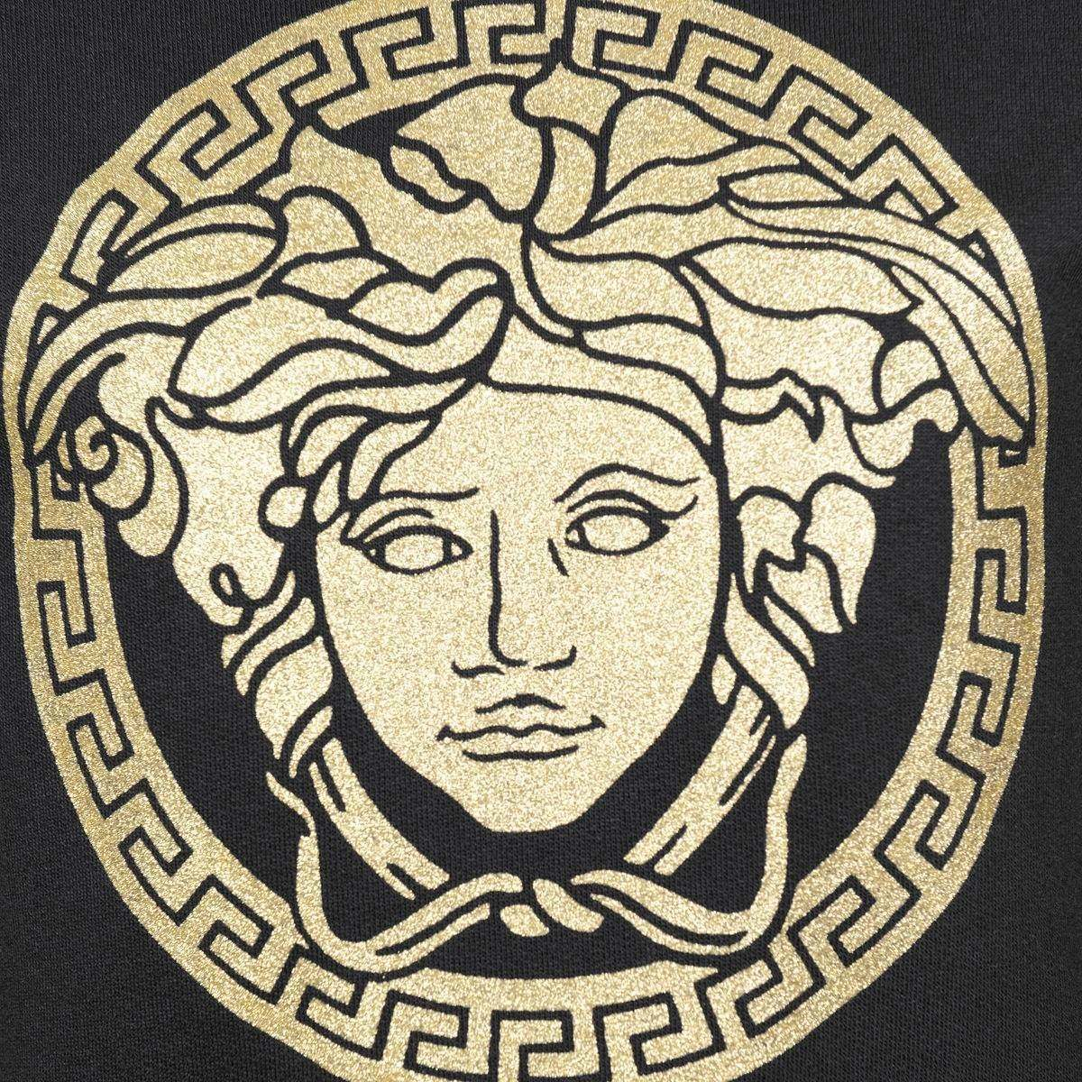Young Versace Girls Black & Gold Logo Sweater.