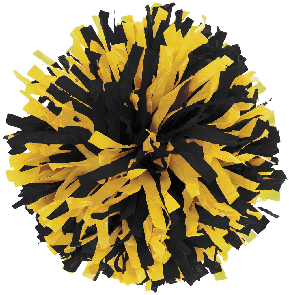 Black And Gold Cheer Pom Poms free image.