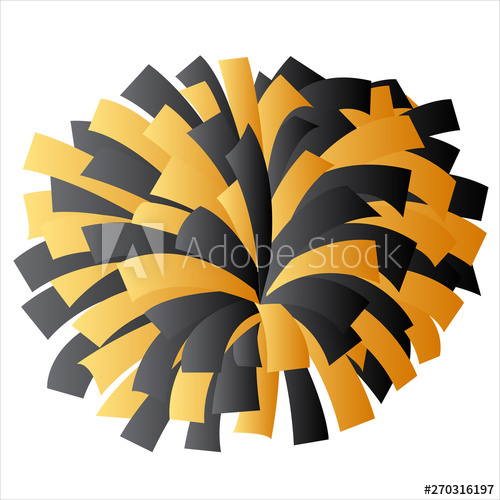 Black and Gold Yellow Cheerleader Pom Pom Vector Graphic.